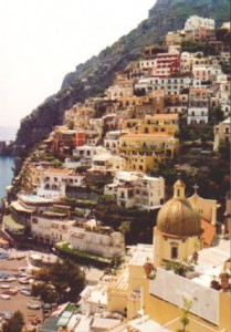 Positano's clustered pastel facades