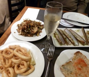 A glass of sparkling Cava and a few delicious Tapas - help yourself!