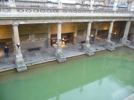 A welcome reception overlooking the Roman Baths