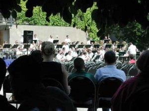 A sunny day in Prague makes the perfect setting for a military band concert